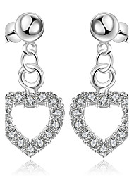 Heart Flower Jewelry Women Heart Fashion Wedding Party Daily Casual Silver Plated 1 pair Silver