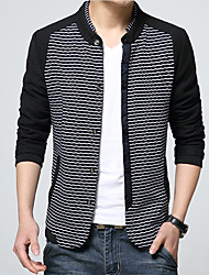 Men's Long Sleeve Casual / Work / Formal / Sport JacketCotton Striped / Patchwork Blue / White