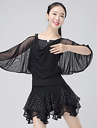 Latin Dance Outfits Women's Performance Polyester Crystals/Rhinestones / Ruched 2 Pieces3/4 Length