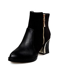 Women's Boots Fall / Winter Bootie / Pointed Toe PU / Fleece Office & Career / Casual Chunky Heel Split Joint Black /