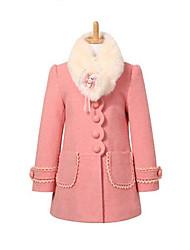 Costume & Blazer / Veste & Manteau Fille de Mosaïque Décontracté / Quotidien Polyester Hiver / Printemps / Automne Rose / Rouge