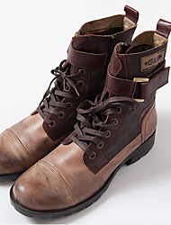 Men's Boots Fall / Winter Combat Boots / Round Toe Cowhide Casual Flat Heel Lace-up Brown Others