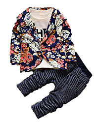 Boy's Casual/Daily Print Clothing Set,Cotton Fall Blue / Gray