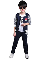 Boy's  Cotton Spring/Fall Cartoon Sports Suits Fashion Youth Three-Piece Set