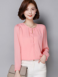 Women's Casual/Daily Cute Summer Blouse,Solid Round Neck Long Sleeve Blue / Pink / Red / White Polyester Thin
