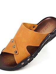 Men's Sandals Summer Open Toe / Sandals Leather Outdoor / Casual Flat Heel Others Black / Blue / Brown Walking