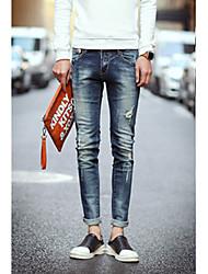 Costume Pour des hommes Couleur plaine Décontracté Coton Bleu
