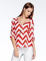 Herz Soul® Damen Rundhalsausschnitt 1/2 Länge Ärmel T-Shirt Orange-10A2CP3904