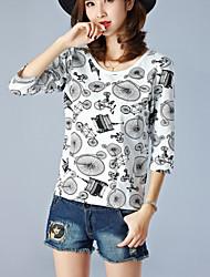 Damen Druck Einfach Lässig/Alltäglich T-shirt,Rundhalsausschnitt Sommer ¾-Arm Grau Baumwolle Dünn
