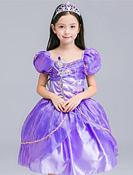 Girl's Formal Patchwork Dress,Cotton / Polyester All Seasons Purple