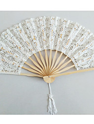 Noble Graceful Cotton Heart Flower Edge Fan