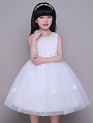 A-line Knee-length Flower Girl Dress - Tulle Sleeveless Jewel with Pearl Detailing
