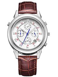 Hommes Montre Habillée / Bracelet Montre Quartz Calendrier / Chronographe / / Cuir Bande Pour tous les jours Noir Marque