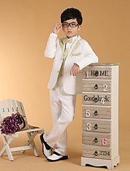 Cotton Ring Bearer Suit - 6 Pieces Includes  Jacket / Shirt / Vest / Pants / Waist cummerbund / Bow Tie