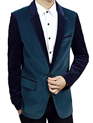 Men's Long Sleeve Casual / Work / Formal Jacket,Cotton / Spandex Solid Black / Brown / Green