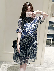 Maternity Casual/Daily Street chic Loose Dress,Print Stand Knee-length ½ Length Sleeve Blue Polyester Summer