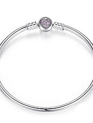 S925 Sterling Silver Fine Jewelry Bangle Bracelet with Crystal Heart for DIY