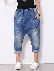 Women's Solid Blue Jeans Pants,Street chic