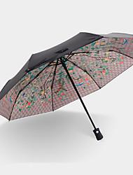 Red / Green Folding Umbrella Sunny and Rainy Textile Travel / Lady / Men