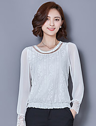 Women's New Fashion Round Collar Chiffon Drilling Beaded Cut Out Lace Shirt