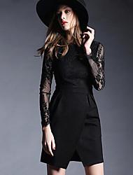 Moulante Robe Femme Sortie simple,Couleur Pleine Col Arrondi Mini Manches Longues Rouge / Noir Rayonne Automne Taille NormaleNon