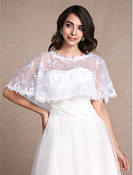 Women's Wrap Shrugs Sleeveless Lace White Wedding Party/Evening Casual Scoop 30cm Lace Pullover