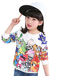 Girl's Cotton Spring/Autumn Fashion Cartoon Print Long Sleeve Round Neck Sweatshirt Blouse Casual/Daily Clothes