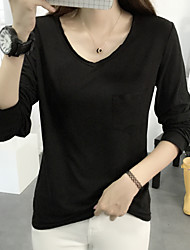 Women's Going out / Casual/Daily Cute / Street chic Fall T-shirt,Solid V Neck Long Sleeve Pink / White / Black