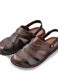 Men's Sandals Summer Sandals / Open Toe Leather Casual Flat Heel Others Brown / Yellow Walking