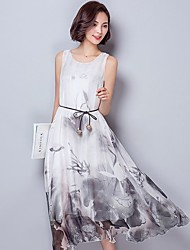 Women's Casual Daily Vintage Loose  Swing Dress,Floral Round Neck Maxi Sleeveless