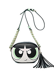 Women PU Casual Cartoon Doll Cute Tassel Printing Circular Zipper Travel Package Shoulder Bag