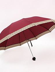 Rojo Paraguas de Doblar Soleado y lluvioso textil Viaje / Lady / Hombre