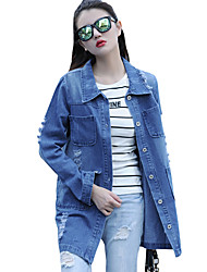 Women's Casual/Daily Vintage / Simple Spring / Hole Fall Denim Jackets,Solid Shirt Collar Long Sleeve