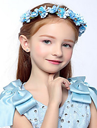Flower Girl's Sky Blue Rose Flower Wreaths for Wedding Party Hair Jewelry