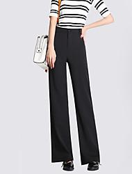 Women's Solid White / Black Slim Pants,Street chic Fall