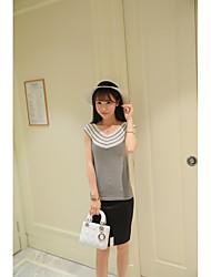 Damen Standard Pullover-Lässig/Alltäglich Einfach Gestreift Weiß / Schwarz / Grau V-Ausschnitt Ärmellos Baumwolle Sommer Mittel