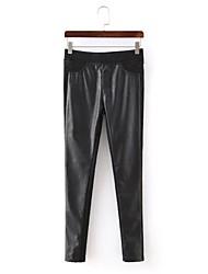 Women's Patchwork Black Jeans Pants,Simple