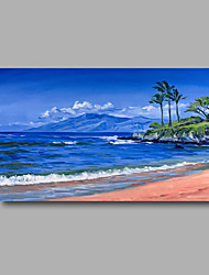 "Stretched (Ready to hang) Hand-Painted Oil Painting 36""x24"" Canvas Wall Art Modern Abstract Seascape Blue Beach"