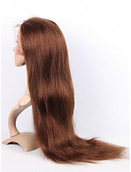 EVAWIGS Peruvian Virgin Human Hair 10-26 Inch 4# Medium Brown Color  Silk Straight  Front Lace Wig   With Baby Hair
