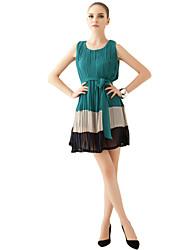 vestido de chiffon drapeado crewneck das mulheres joannekitten®