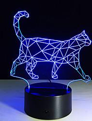 1шт новая ходьба кошки 3d ночник акриловые стереоскопического привели красочные огни плагин градиента атмосферы лампы
