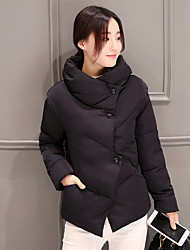 Women's Solid Blue / Pink / White / Black Down Coat,Street chic Stand Long Sleeve