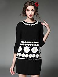 2016 Women Clothing Dress Fashion Plus Size Embroidery Flower Slim 3/4 Sleeve Vintage Elegant Dress