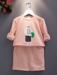 Girl's Cotton  Spring/Autumn Long Sleeve Cartoon Pattern Hoodies And Skirt Two-piece Set