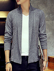 Men's Solid Casual Cardigan,Cotton / Nylon Long Sleeve Gray
