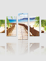 JAMMORY Canvas Set Landscape ,Five Panels Gallery Wrapped, Ready To Hang Vertical Print No Frame Seaside Scenery