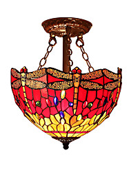 Red Dragonfly Shade with 2 Lights For Tiffany Half pendant lamp