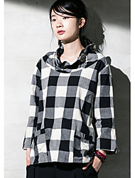 Damen Solide Einfach Ausgehen T-shirt,Rundhalsausschnitt Frühling / Winter Langarm Grau Baumwolle Dünn