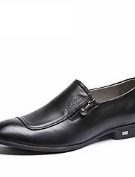 Черный-Мужской-Для офиса Повседневный-Кожа-На плоской подошвеТуфли на шнуровке