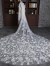 Véus de Noiva Uma Camada Véu Catedral Corte da borda Tule Marfim